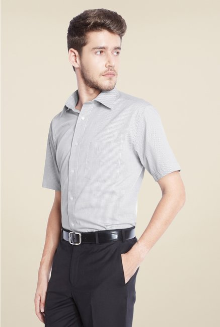 Park Avenue Grey Checks Cotton Shirt