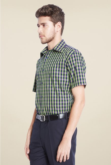 Park Avenue Green Checks Cotton Shirt