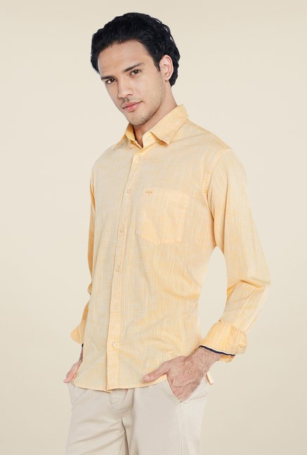 ColorPlus Yellow Textured Shirt