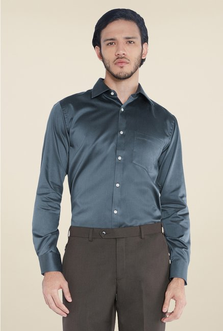 Park Avenue Dark Grey Solid Cotton Shirt