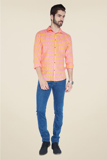 Park Avenue Pink Checks Linen Shirt