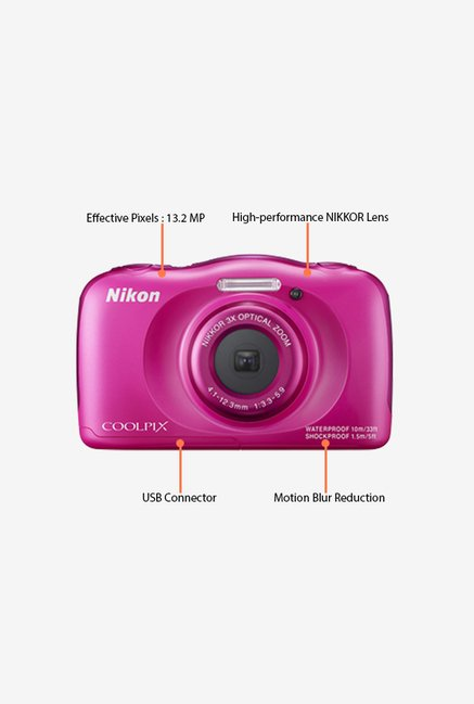 Nikon Coolpix S33 Water Proof Point & Shoot Camera (Pink)