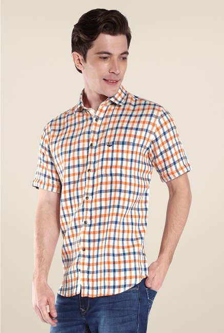 Park Avenue Orange Checks Linen Shirt