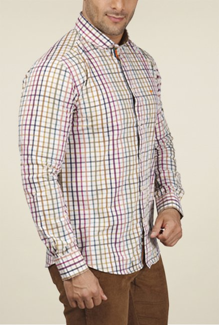 Park Avenue Beige Checks Shirt