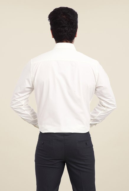 Park Avenue Cream Solid Shirt