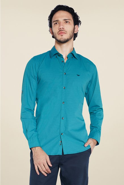 Park Avenue Blue Solid Shirt