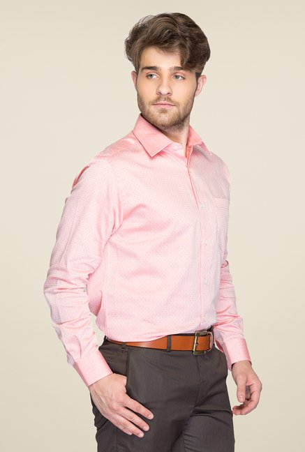 Park Avenue Pink Self Print Cotton Shirt
