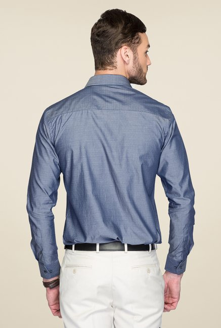 Park Avenue Blue Printed Cotton Shirt