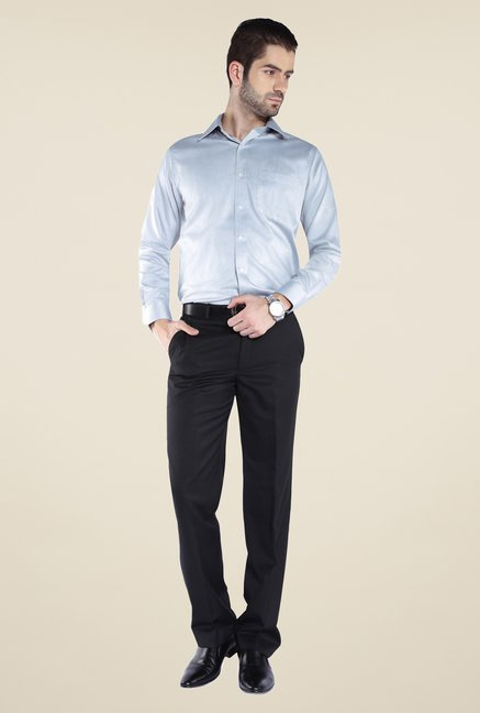 Park Avenue Light Blue Solid Cotton Shirt