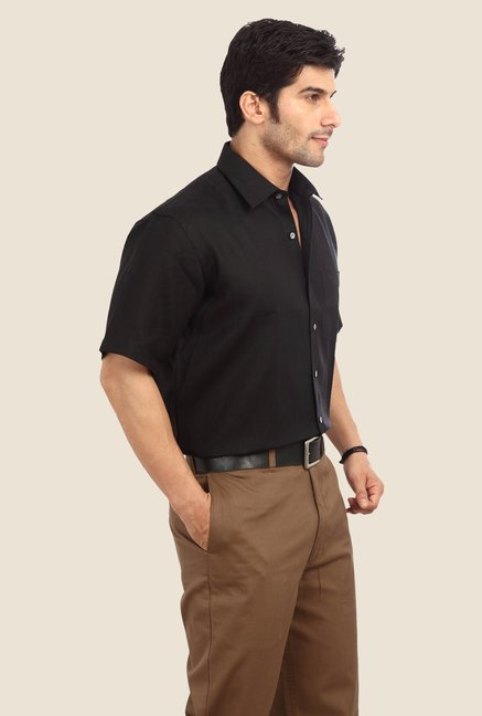ColorPlus Black Solid Linen Shirt