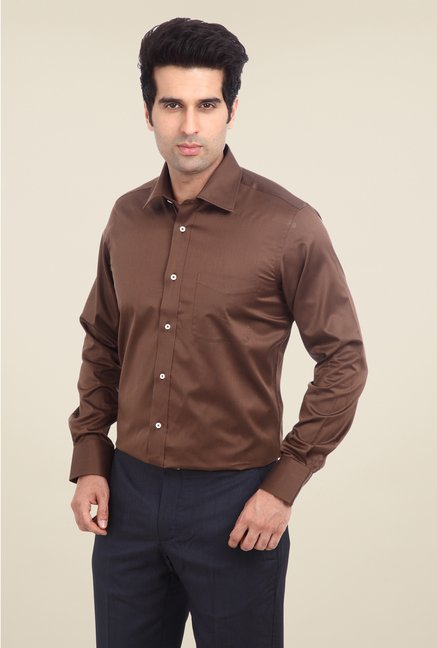 Park Avenue Brown Solid Cotton Shirt