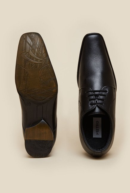 Metro Black Derby Leather Shoes