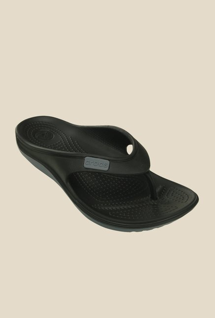 Crocs Duet Wave Charcoal Black Flip Flops