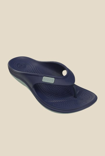Crocs Duet Wave Nautical Navy Flip Flops