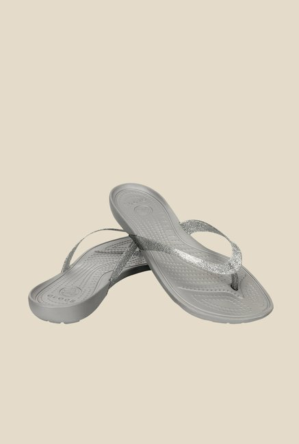 Crocs Really Sexi Glitter Silver Flip Flops