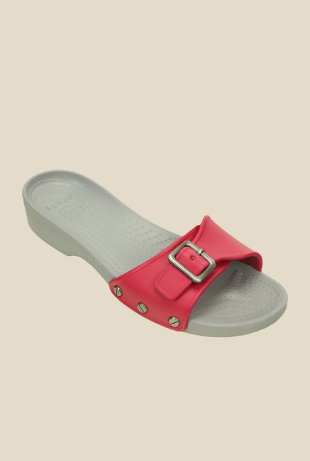 Crocs Sarah Raspberry & Grey Slide Sandals