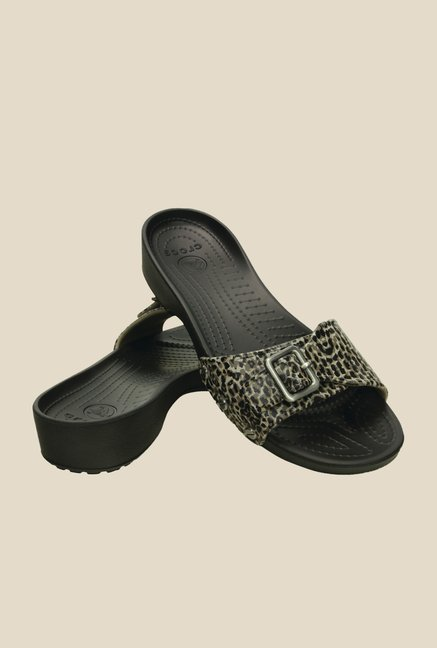 Crocs Sarah Leopard Black Slide Sandals