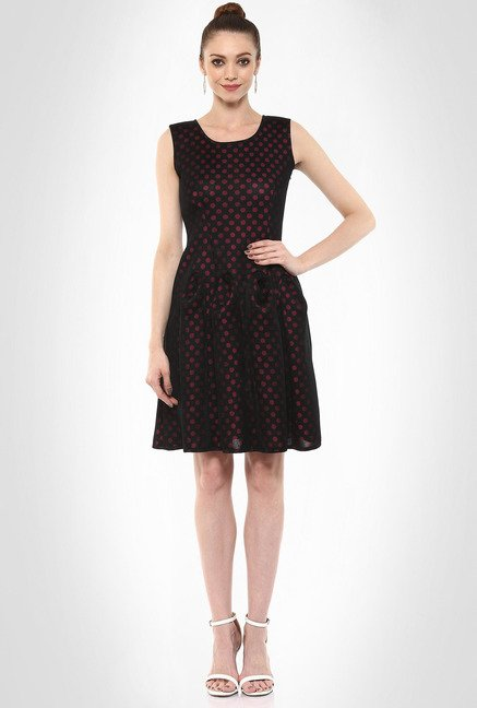 Rubina K Designer Wear Polka Dot Skater Dress By Kimaya