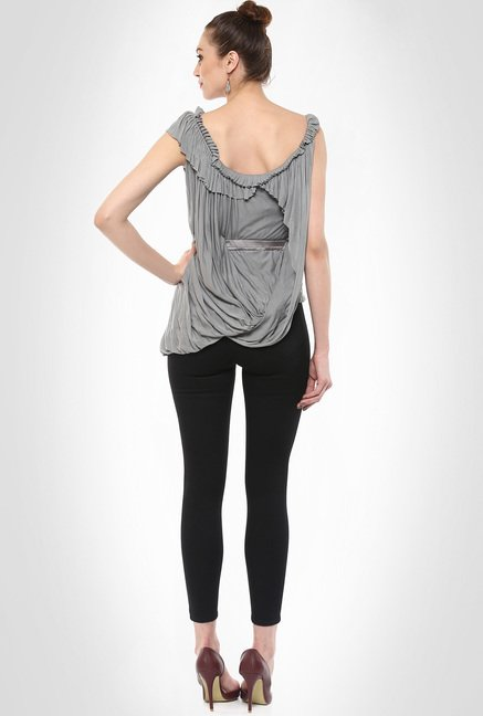 Gaurav Gupta Designer Wear Grey Drape Top By Kimaya