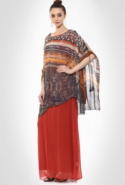 Tarun Tahiliani Designer Wear Red Maxi Dress By Kimaya