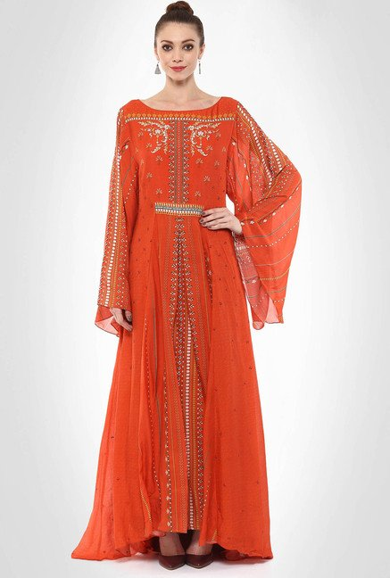 Tarun Tahiliani Designer Wear Orange Maxi Dress By Kimaya