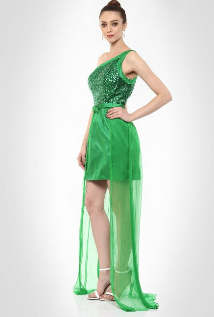 JuBy Mcdonald Designer Wear Green Cocktail Dress By Kimaya