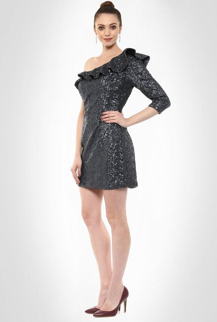 JuBy Mcdonald Designer Wear Ruffled Sequin Dress By Kimaya