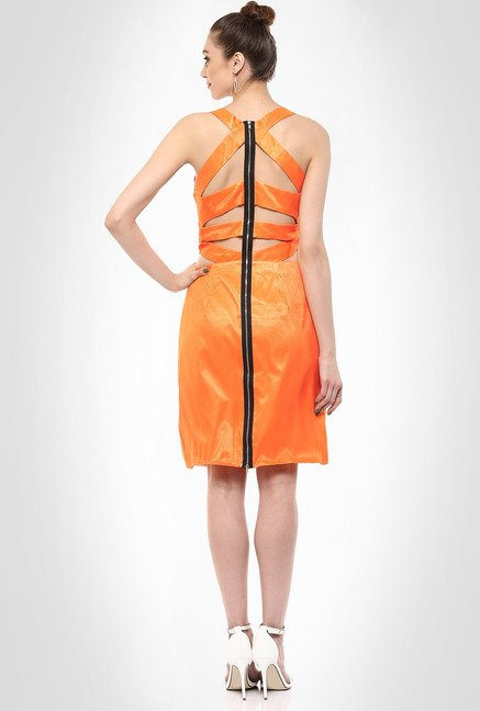JuBy Mcdonald Designer Wear Orange Cocktail Dress By Kimaya