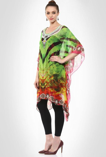 Rubina K Designer Wear Semi Sheer Kaftan Kurti By Kimaya