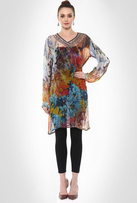 Rubina K Designer Wear Semi Sheer Printed Kurti By Kimaya