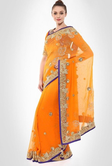 Kshitija Rana Designer Wear Orange & Purple Sari by Kimaya