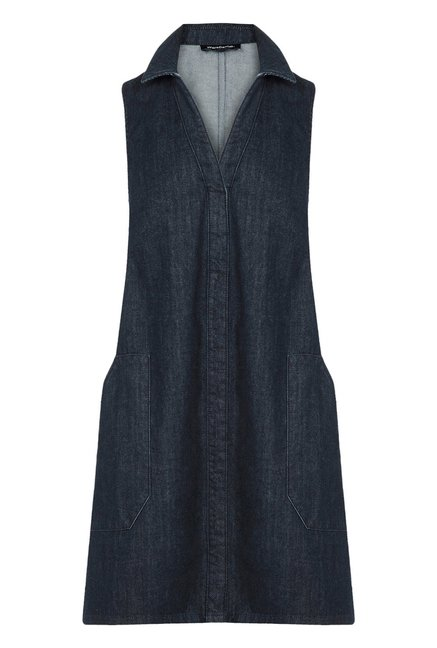 Warehouse Navy Solid A Line Dress