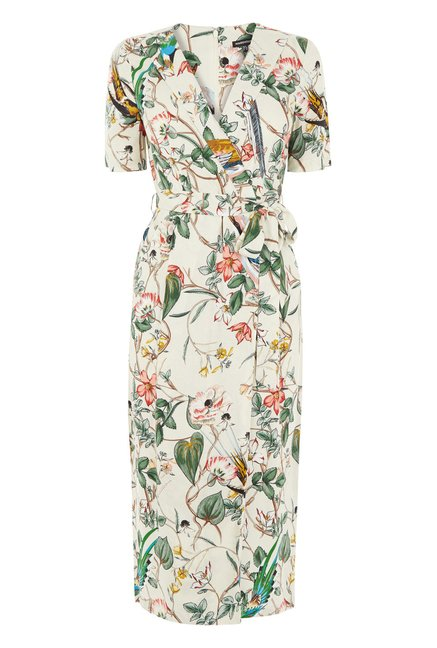 Warehouse White Floral Printed Wrap Dress