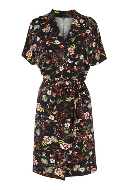 Warehouse Black Floral Printed Wrap Dress