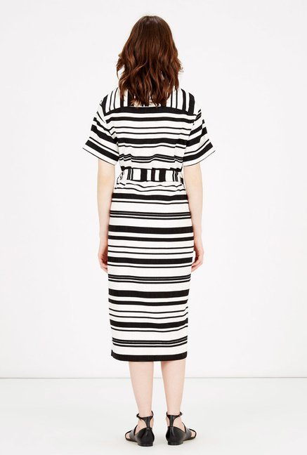 Warehouse Black & White Striped Midi Dress