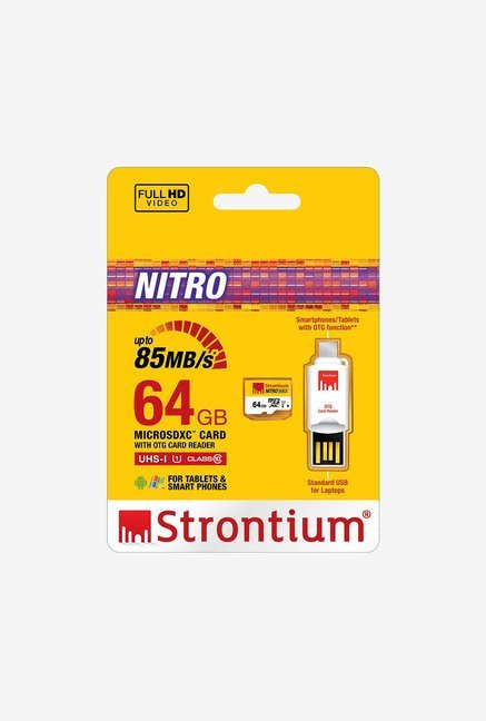 Strontium 64 GB Nitro Class 10 micro SD with OTG Card Reader