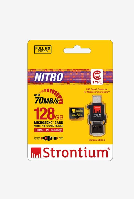 Strontium 128GB Micro SD Nitro UHS-I with Type-C Card Reader