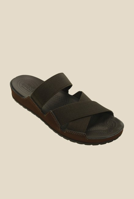 Crocs Anna Espresso Cross Strap Sandals