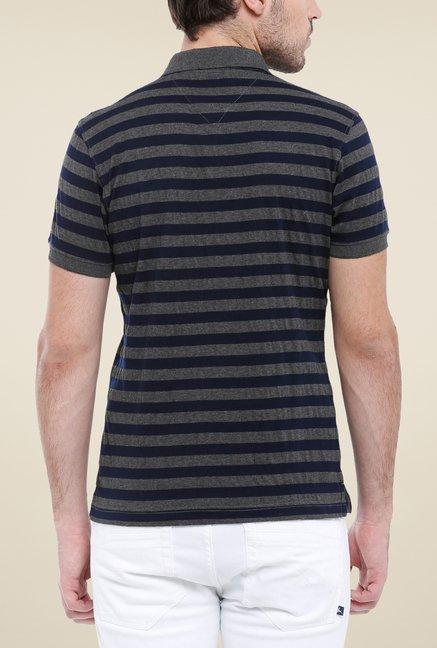 Parx Black & Grey Striped Polo T Shirt