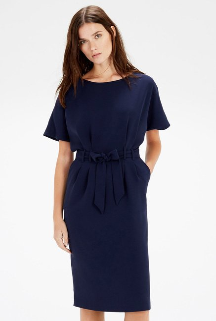 Warehouse Navy Solid Pencil Dress