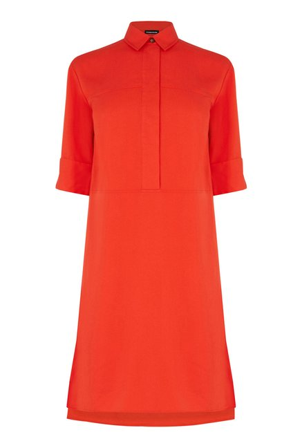 Warehouse Red Solid Shirt Dress