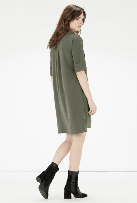 Warehouse Olive Solid Shirt Dress