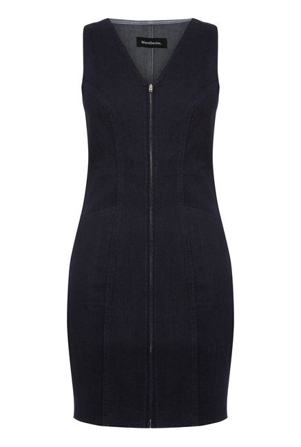 Warehouse Navy Solid Denim Dress