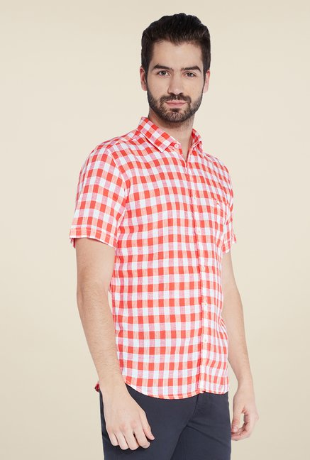 Parx Red Checks Linen Shirt