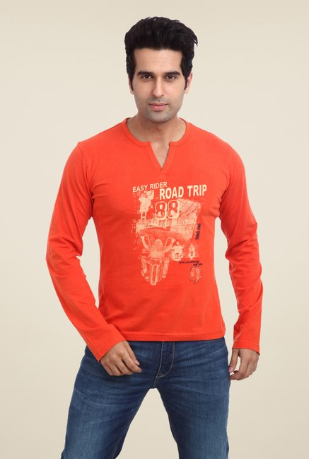 Parx Orange Graphic Printed T Shirt