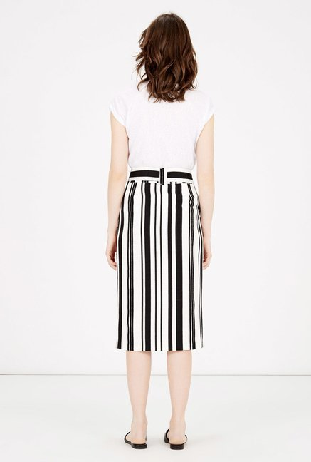 Warehouse Black Striped Pencil Skirt