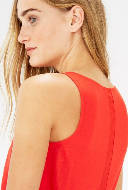 Warehouse Coral V Neck Top