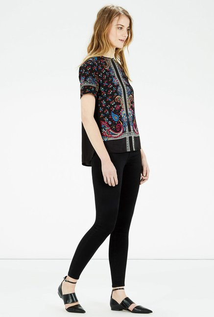 Warehouse Black Paisley Printed Top