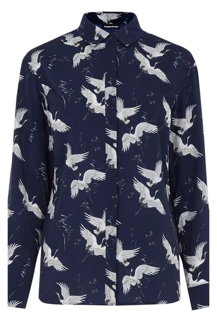 Warehouse Navy Printed Top