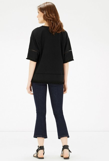 Warehouse Black Solid Top